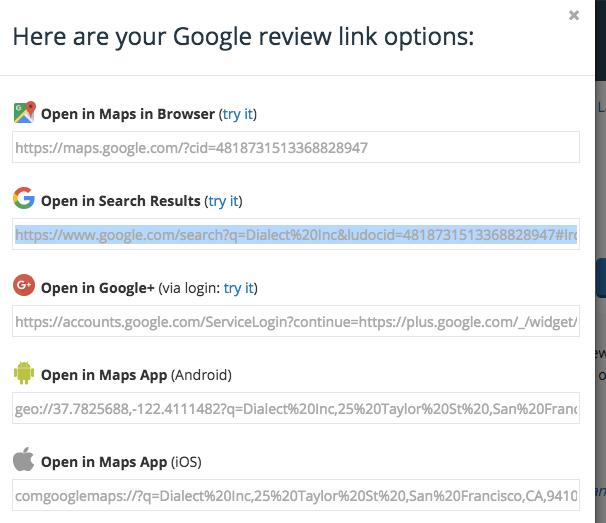 google review option desktop