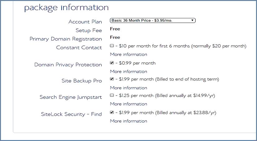 package information blue host