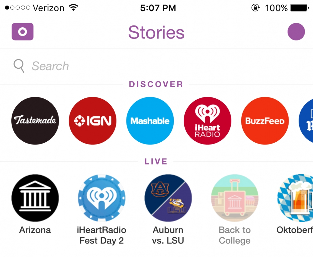 Snapchat Stories and Channels